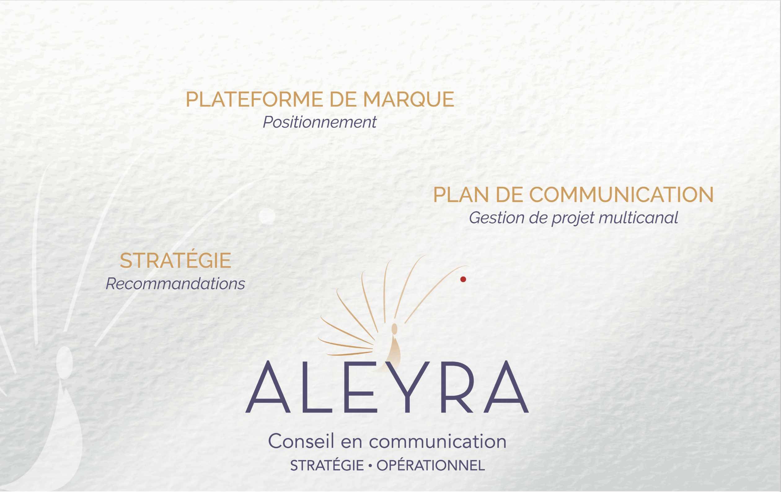 Aleyra, Conseil en communication stratégique et opérationnelle. Stratégie, plateforme de marque et gestion de projet multicanal.